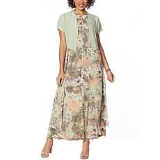 """As Is"" Antthony ""Natural Flow"" Printed Maxi Dress and Solid Bolero"