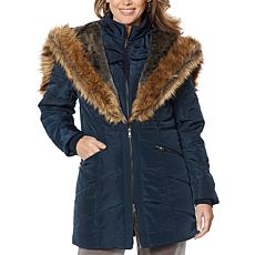 """As Is"" Antthony Puffer Jacket with Faux Fur Trim"