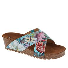 """As Is"" Anuschka Caroline Printed Leather Slip-On Sandal"