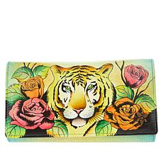 """""""As Is"""" Anuschka Hand-Painted Leather Compartmental Clutch Wallet"""
