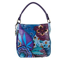 """""""As Is"""" Anuschka Hand-Painted Leather Convertible Hobo"""