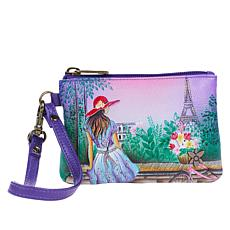 """As Is"" Anuschka Hand-Painted Leather Convertible Wristlet"
