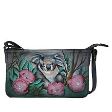 """""""As Is"""" Anuschka Hand Painted Leather Crossbody Organizer"""