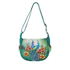 """""""As Is"""" Anuschka Hand-Painted Leather Crossbody Saddle Bag"""