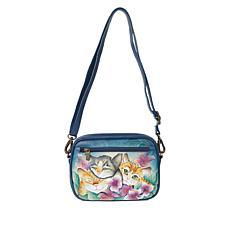 """""""As Is"""" Anuschka Hand Painted Leather Front-Zip Crossbody"""