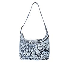 """""""As Is"""" Anuschka Hand-Painted Leather Hobo with Matching Pouch"""