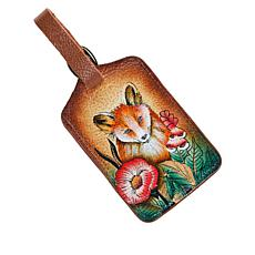 """As Is"" Anuschka Hand Painted Leather Luggage Tag"