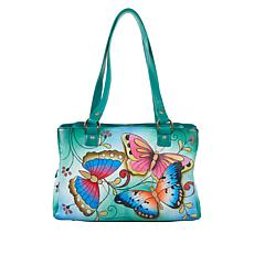 """""""As Is"""" Anuschka Hand-Painted Leather Multi-Compartment Tote"""