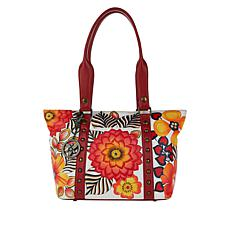 """""""As Is"""" Anuschka Hand-Painted Leather Studded Shopper Tote"""