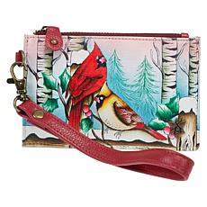 """""""As Is"""" Anuschka Hand-Painted Leather Top-Zip Organizer Wallet"""