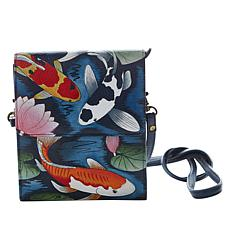"""""""As Is"""" Anuschka Hand-Painted Leather Tri-Compartment Crossbody Wallet"""