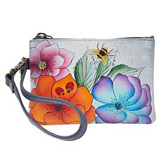 """As Is"" Anuschka Hand-Painted Leather Zip-Top Wristlet"