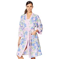 """""""As Is"""" Aria Printed Jersey Short Wrap Robe with Pockets"""