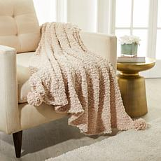 """""""As Is"""" august & leo Chenille Knit Throw with Pom Poms"""