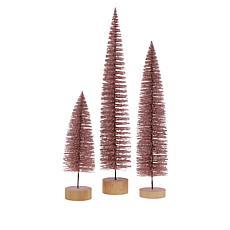 """""""As Is"""" August & Leo Set of 3 Glitter Bottle Brush Trees"""