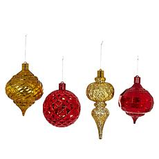 """""""As Is"""" august & leo Set of 4 Oversized LED Ornaments with Timer"""