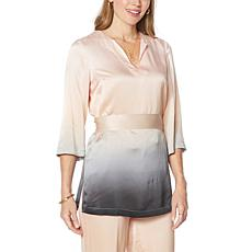 """""""As Is"""" Badgley Mischka Belted Silk Tunic Blouse"""