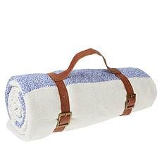"""""""As Is"""" Chris & Peyton 100% Cotton Picnic Blanket with Carry Strap"""