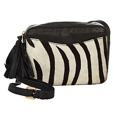 """""""As Is"""" Clever Carriage African Safari Haircalf Leather Crossbody"""