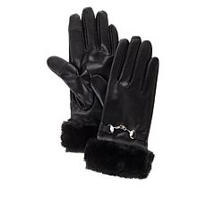 """""""As Is"""" Collection 18 Faux Leather Fur Cuff Glove with Tech Touch"""