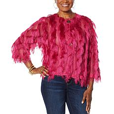 """As Is"" Colleen Lopez 2-button Vertical Fringe Topper"