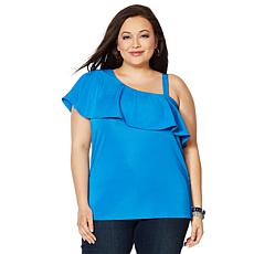 """As Is"" Colleen Lopez Asymmetric Off-Shoulder Flounce Top"