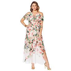 """As Is"" Colleen Lopez Cold Shoulder Printed Maxi Dress"