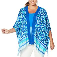 """As Is"" Colleen Lopez Crochet Inset Kimono Topper"