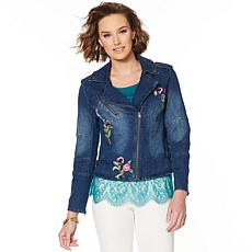 """As Is"" Colleen Lopez Embroidered Denim Moto Jacket"