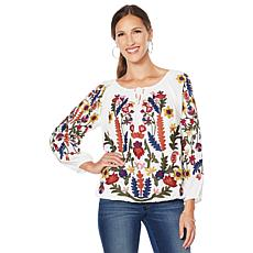 """""""As Is"""" Colleen Lopez Embroidered Peasant Blouse"""