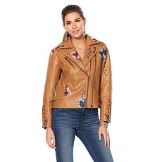 """As Is"" Colleen Lopez Fabulous Floral Embroidered Faux Leather Jacket"