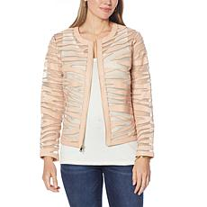 """""""As Is"""" Colleen Lopez Faux Leather and Mesh Tiger Jacket"""
