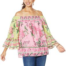 """As Is"" Colleen Lopez Flounce Sleeve Smock-Neck Blouse"