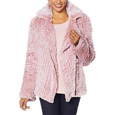 """As Is"" Colleen Lopez Knitted Faux Fur Moto Jacket"