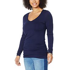 """As Is"" Colleen Lopez Long-Sleeve Knit Top with Ruched Sides"