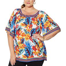 """As Is"" Colleen Lopez Mixed-Print Blouse"