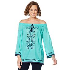 """""""As Is"""" Colleen Lopez Off-Shoulder Embroidered Peasant Blouse"""