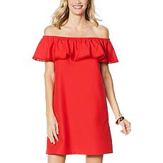 """As Is"" Colleen Lopez Palm Paradise Ruffle Off-the-Shoulder Dress"