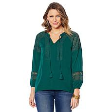 """""""As Is"""" Colleen Lopez Peasant Blouse with Crochet Eyelet Detail"""