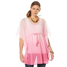 """""""As Is"""" Colleen Lopez Printed Tie-Waist Poncho"""