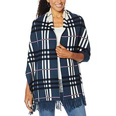 """""""As Is"""" Colleen Lopez Reversible Plaid Knit Topper with Fringe"""