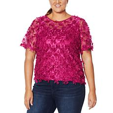"""As Is"" Colleen Lopez Sheer Fringe Top with Cami"