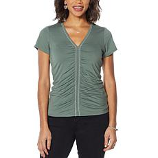 """As Is"" Colleen Lopez Short-Sleeve Chain Detail Top with V-neck"