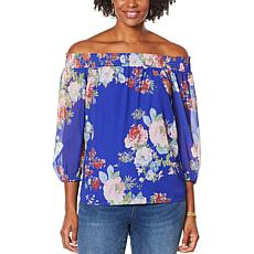 """""""As Is"""" Colleen Lopez Smocked Off-the-Shoulder Peasant Top"""