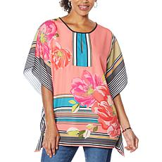 """As Is"" Colleen Lopez Split Neck Woven Poncho"