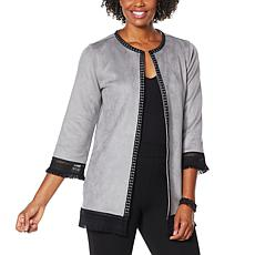 """As Is"" Colleen Lopez Sueded Topper Jacket with Fringe Detail"
