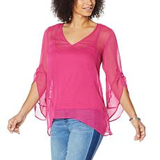 """As Is"" Colleen Lopez Woven Flutter-Sleeve Sharkbite Top with Cami"