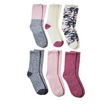 """As Is"" Comfort Code 6-pack Cozy Crew Socks"