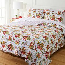 """As Is"" Cottage Collection 100% Cotton Stitched 3-pc Quilt Set - Ja..."