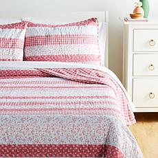 """""""As Is"""" Country Living Home Collection Rose Stripe 3-piece Quilt Set"""